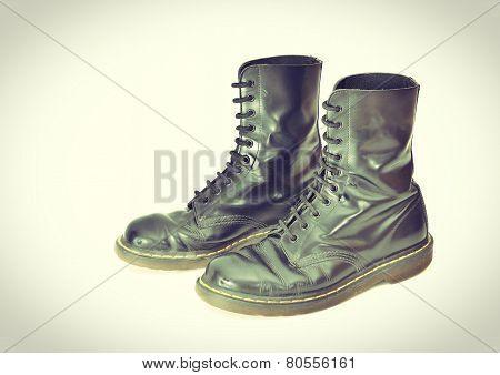 Pair Of Classic Black Lace-up Boots - Vintage Processes