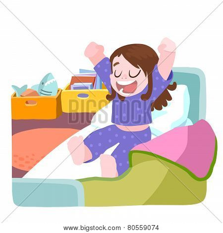 A Girl Wake Up And Stretching In Bed