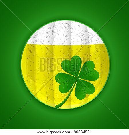 Beer and four-leaf clover. St. Patrick's day symbols. Vector illustration