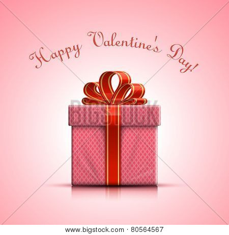 Happy Valentines Day. Valentine pink gift box with bow. Vector illustration