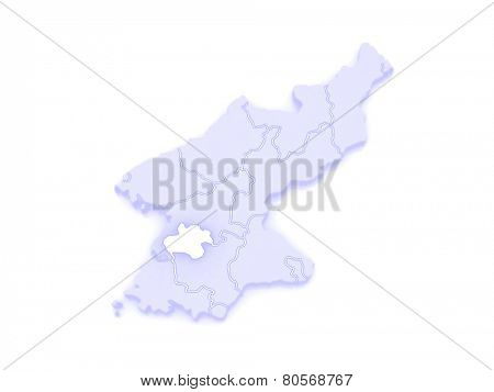 Map of Pyongyang Chikhalsi. North Korea. 3d