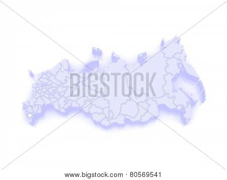 Map of the Russian Federation. republic of Chechnya. 3d