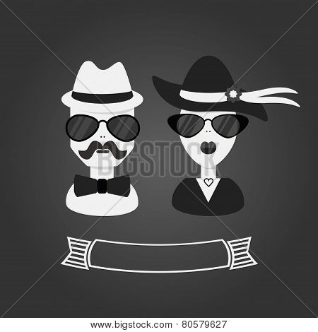 Hipster couple in black and white with ribbon banner