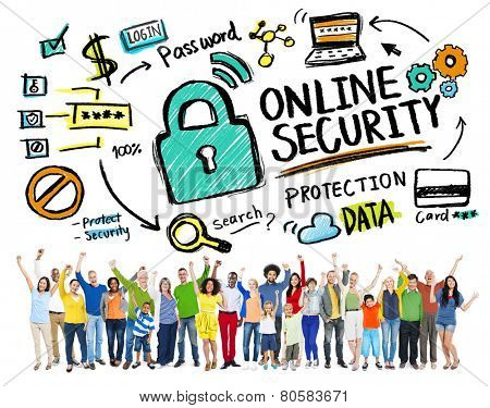 Online Security Protection Internet Safety People Celebration Concept