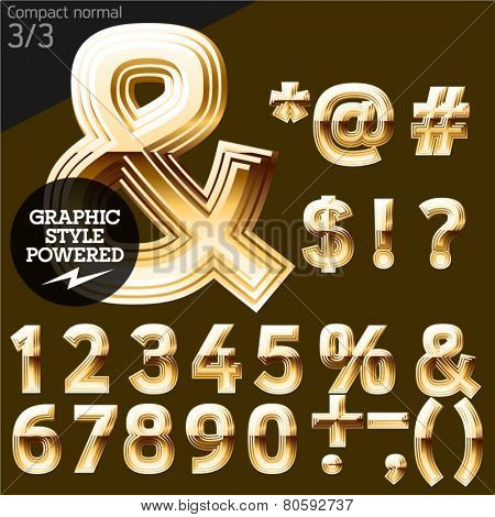 Vector font of beveled golden letters. Compact normal. File contains graphic styles available in Illustrator. Set 3