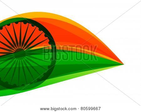 vector indian flag made with tricolor in a leaf style poster