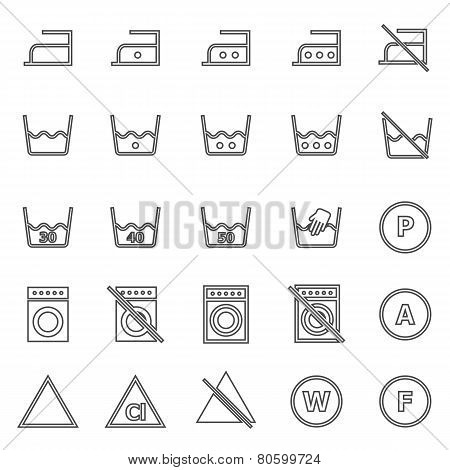 Laundry Line Icons On White Background