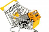 a shopping cart and a truck. invest in new vehicles reduces operating costs. poster
