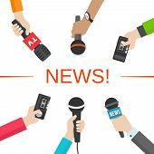 Set of hands holding microphones and voice recorders. News and journalism concept. Vector illusatration poster