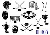 Ice hockey emblem and logo design elements with hockey pucks, masks, helmet, crossed sticks, gates and trophy cups decorated laurel wreath poster
