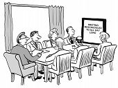 Cartoon image of a business boardroom meeting stating the meeting will last all day poster