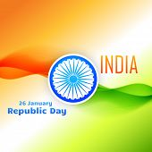 tri color indian flag design for 26 january republic day poster