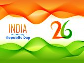 vector indian  republic day design celebrated on 26 january made in wave style illustration  poster