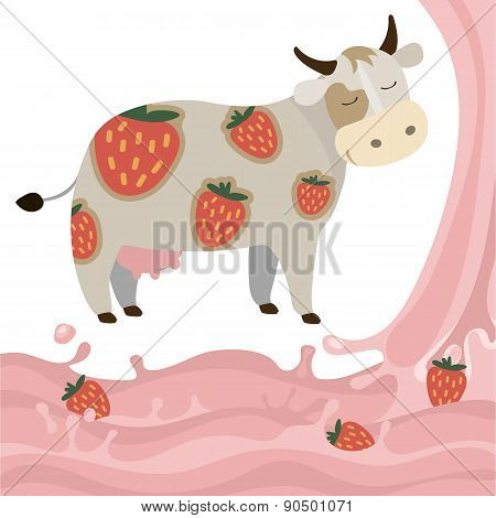 Fruit Strawberry Milk Splash Milk Cow Vector Illustration