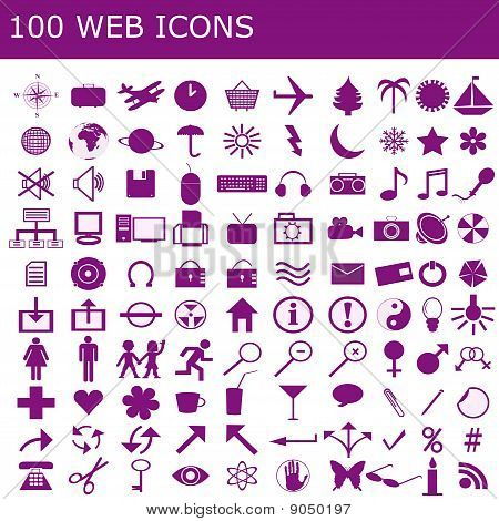 Set of 100 purple web icons on white background poster