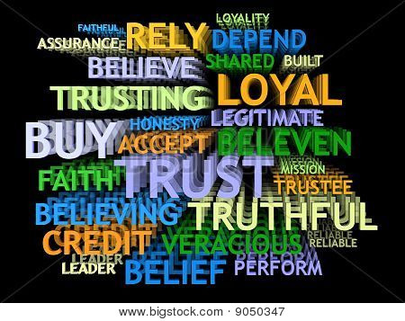 3d perspective TRUST's word-cloud