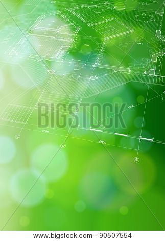 Architecture ecology blueprint: plan & green bokeh abstract light background / vector illustration / eps10