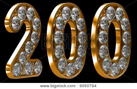 Golden 200 Numeral Incrusted With Diamonds