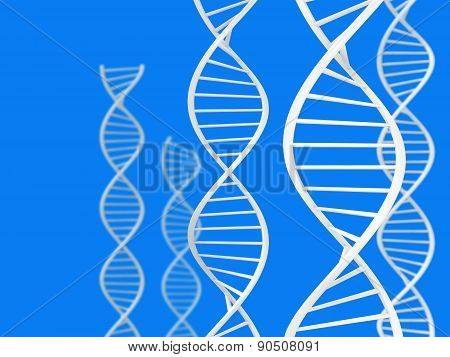 Science and biotech theme of white DNA spirals over a blue background
