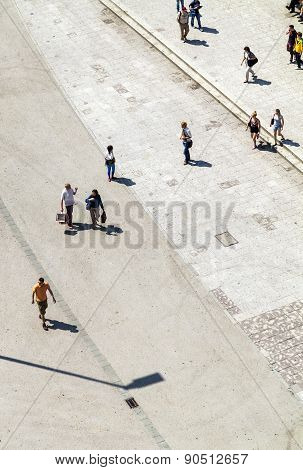 Frankfurt, Germany - June 8: People Walk Along The Zeil In Midday