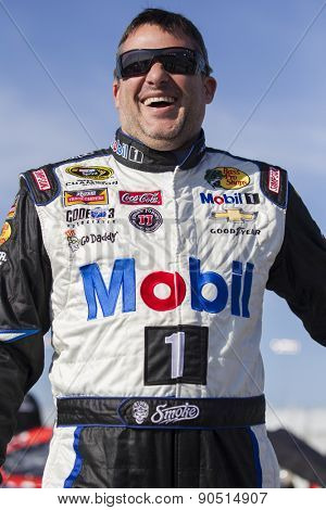 Richmond, VA - Apr 24, 2015:  Tony Stewart (14) jokes before the Toyota Owners 400 at Richmond International Raceway in Richmond, VA.