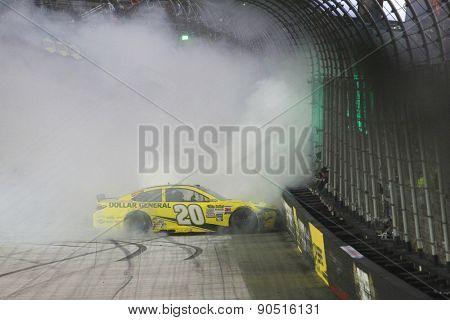 Bristol, TN - Apr 19, 2015:  Matt Kenseth (20) wins the Food City 500 at Bristol Motor Speedway in Bristol, TN.