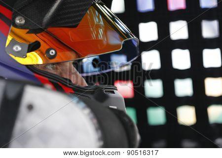 Bristol, TN - Apr 17, 2015:  Denny Hamlin (11) straps into his car for the Food City 500 at Bristol Motor Speedway in Bristol, TN.