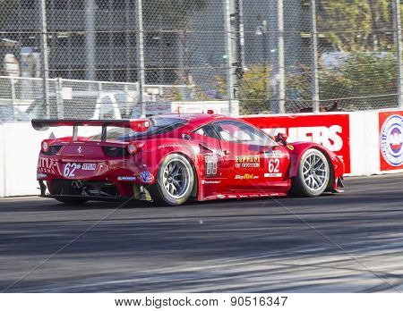 Long Beach, CA - Apr 17, 2015:  The Risi Competizione Ferrari races through the turns at Toyota Grand Prix of Long Beach at Long Beach Grand Prix in Long Beach, CA.