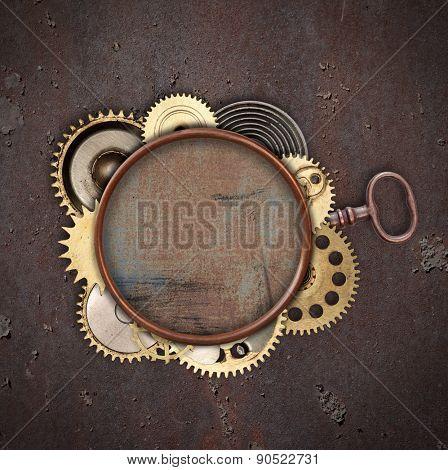 Vintage industrial mechanical background on metal background