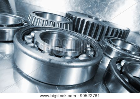 ball-bearings, cogwheels and gears, titanium and steel, aerospace parts