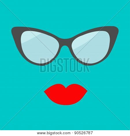 Women Glasses And Red Lips Set. Fashion Background Flat Design.