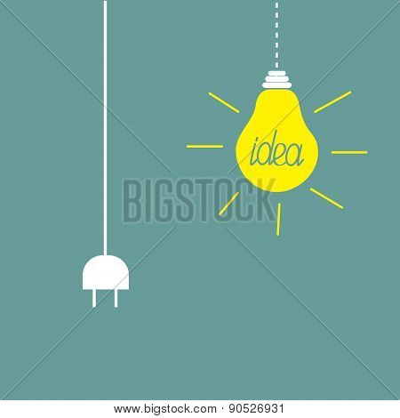 Hanging Yellow Light Bulb And Cord Plug. Idea Concept. Flat Design