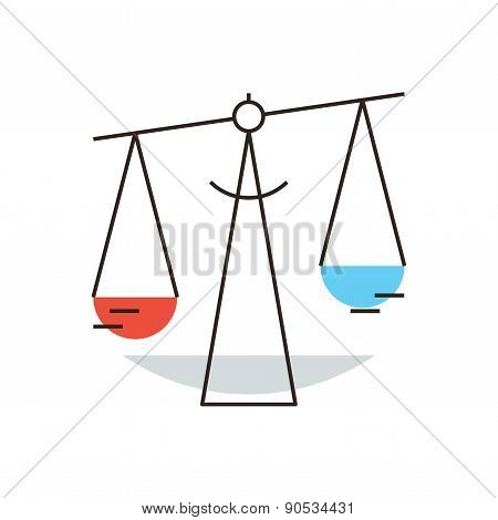 Balance Scales Flat Line Icon Concept