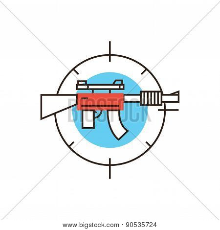 Military Weapon Flat Line Icon Concept