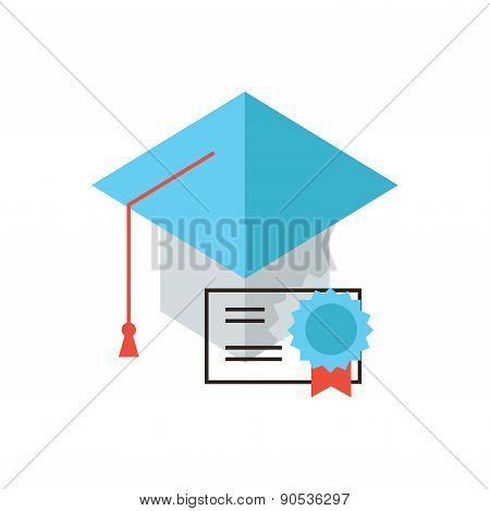 Certificate Of Education Flat Line Icon Concept