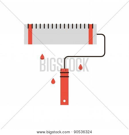 Roller Brush Flat Line Icon Concept