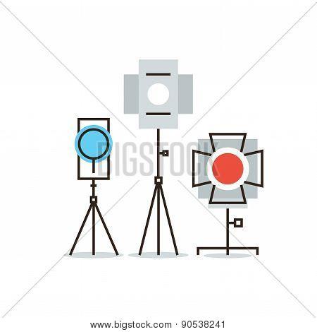 Studio Lighting Equipment Flat Line Icon Concept