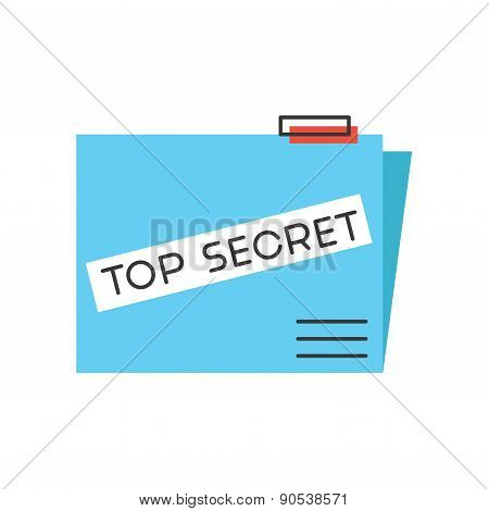 Top Secret Flat Line Icon Concept