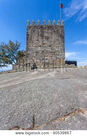 Povoa de Lanhoso, Portugal. April 6, 2015: Keep of castle where the first king of Portugal imprisoned his mother, after he defeated her in battle in the crucial moment of the independence