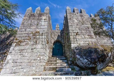 Povoa de Lanhoso, Portugal. April 6, 2015: Entrance of the keep of the castle where the first king of Portugal imprisoned his mother, after her defeat in the crucial battle for the independence