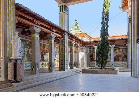 S. Bento da Porta Aberta, Portugal. April 06, 2015: Gallery in the exterior of the Crypt with decoration of tiles. Pope Francis raised the Sanctuary to Basilica in its 400th anniversary, March 21st