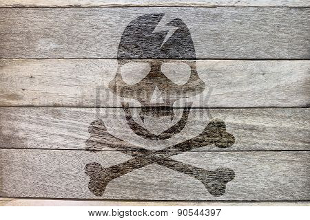 pirate icon on wood background