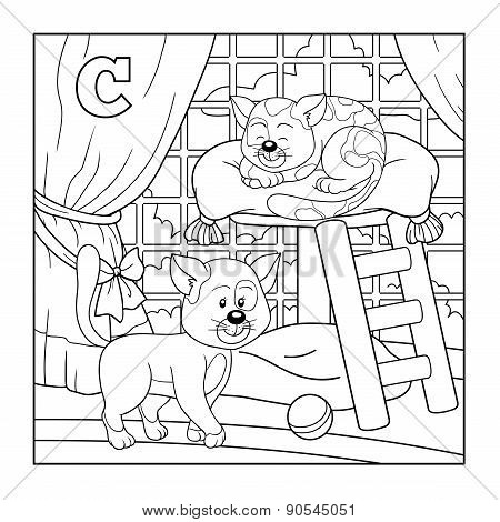 Coloring Book (cat), Colorless Alphabet For Children: Letter C