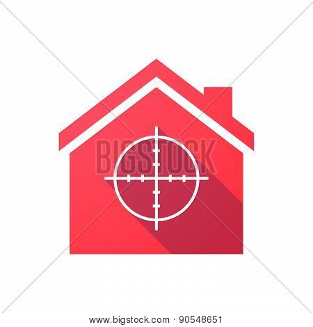 Red House Icon With A Crosshair