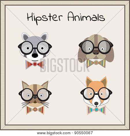 Hipster animals set vector