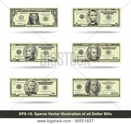All Dollar Bills Flat
