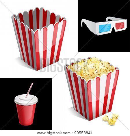 popcorn box, cola and 3D glasses icon 10eps