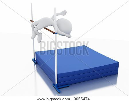 3d White people sports athlete. High jump.