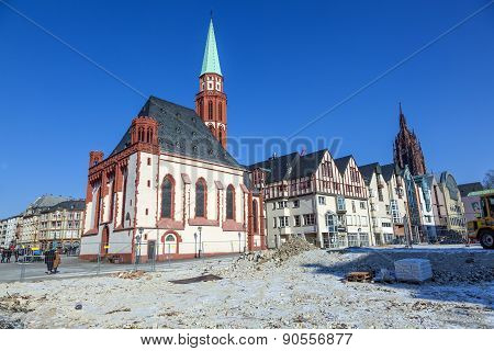 Famous Nikolai Church In Frankfurt At The Central Roemer Place