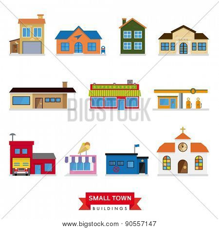 Small Town Buildings Vector Set. Collection of 11 flat design buildings typical of small towns.